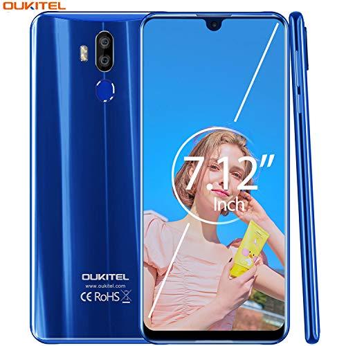 【7.12 Zoll FHD+ Display】 OUKITEL K9 4G Volte Smartphone ohne Vertrag,6000mAh Akku Mit 30W Schnellladen,Helio P30 2.3GHz Android 9.0,4GB RAM+64GB ROM,IMX298 16MP Kamera, Dual SIM Handy (Blau) Dual-sim-handy