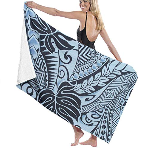 fgregtrg Beach Towels Decor Polynesian Tattoo Tapa Designs in Blue Bath Towels Machine Washable Soft, High Absorbent, Eco-Friendly Printed Bath Towel,Quick Dry 31.5\