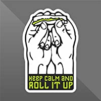 Sticker Keep Calm and Roll It Marijuana Funny - Decal Cars Motorcycles Helmet Wall Camper Bike Adesivo Adhesive Autocollant Pegatina Aufkleber - cm 10 - Funny Car Decal Sticker