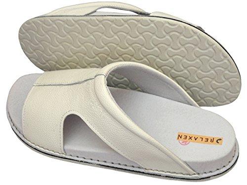 Relaxen Damen Herren Unisex Leder Pantolette Hausschuhe Orthopädisch Medizinische Arbeit Schuhe Modell MA02 Weiß