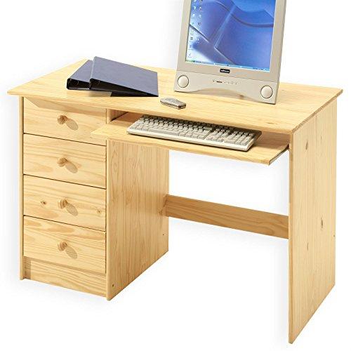 IDIMEX Kinderschreibtisch Schülerschreibtisch MALTE Schreibtisch mit Tastaturauszug und 4 Schubladen, Kiefer massiv natur lackiert