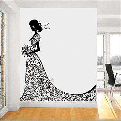 Traum-hochzeitskleid ((Hjcmhjc) Hochzeitskleid Elegante Glückliche Mädchen Bouquet Traum Hochzeit Aufkleber Home DecorLy-Verheiratetes Paar Zimmer Aufkleber Abnehmbare 57 * 61 Cm)