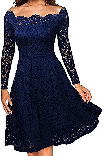Damen Elegant Spitzenkleid Langarm Schulterfreies kleid Skaterkleid Cocktailkleid Abendkleid Blau S
