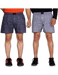 Flamboyant Men Blue & White Print Cotton Boxer Shorts