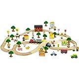 Tren de madera con set completo – 80 piezas y accesorios para jugar