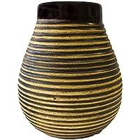 Cebador Miel en Céramique | Yerba Mate Cup avec des Rayures | Facile à Nettoyer