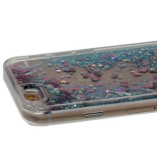 iPhone 7 Plus Coque, Beau Coloré Coeurs sable Écoulement Liquide Eau Désign Transparente Dur Housse de Protection Case Anti Choc pour Apple iPhone 7 Plus 5.5 inch avec 1 stylet cyan