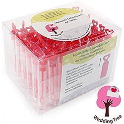 Set de pompas de jabón en color rojo - 48 piezas con mango en forma de corazón
