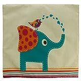 Luxbon Kissenbezug Kissenhülle Lendenkissen Bettkissen Pillowcase Dekokissen für Hause Zimmer Sofa Auto 45 x 45 cm Blau Elefant mit Vogel - 2