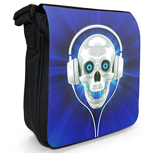 Schädel mit Kopfhörern Kleine Schultertasche aus schwarzem Canvas Schädel mit Kopfhörern Blau