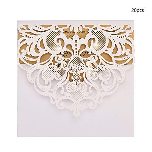 Mouchao 20PCS Hochzeits-Geburtstagsfeier-Einladungs-Karten-Installationssatz mit innerem Papier-Weiß D122