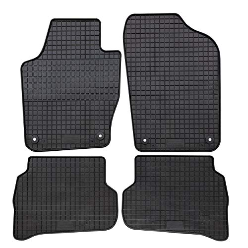 GERCAR Passgenaue Gummimatte 4-teilig in schwarz (B014) für Seat Ibiza ab 06/2008-05/2017 und Ibiza ST ab 06/2010-05/2017 Passform Fußmatten inklusive Befestigungssystem