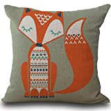 Kavitoz Clearance! Fox Print Cotton Linen Cushion Cover Sofa Bed Home Decoration Festival Coffee Party Pillow Case 45cmx45cm By (B)