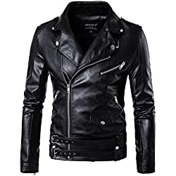 Veste en Similicuir Punk Biker Jacket Blouson Manteaux en Cuir avec Ceinture pour Homme Noir L
