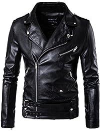 MISSMAO Veste en Similicuir Punk Biker Jacket Blouson Manteaux en Cuir avec  Ceinture pour Homme 2ed0dc2bef5