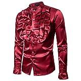 Männer Shiny Slim Button Down Rüschenhemd Dance Fancy Shirt Party Nachtclubs Kostüm Top (XL, Weinrot)