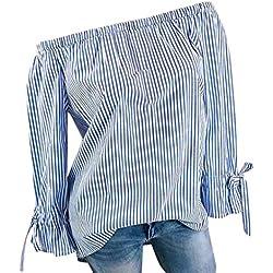MORCHAN Femmes Mode V-Cou Wave Point Point Impression Manches Longues Bouton Sexy Hors épaule Casual Bow Plus Taille Tops Lâche Blouse(FR-48/CN-3XL,Bleu-2)