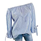 MORCHAN Femmes Mode V-Cou Wave Point Point Impression Manches Longues Bouton Sexy Hors épaule Casual Bow Plus Taille Tops Lâche Blouse(FR-42/CN-L,Bleu-2)