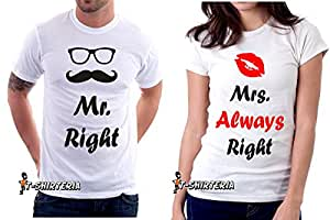 t-shirt San Valentino Mr right and Mrs ALWAYS right, coppia, love - tutte le taglie uomo donna maglietta by tshirteria