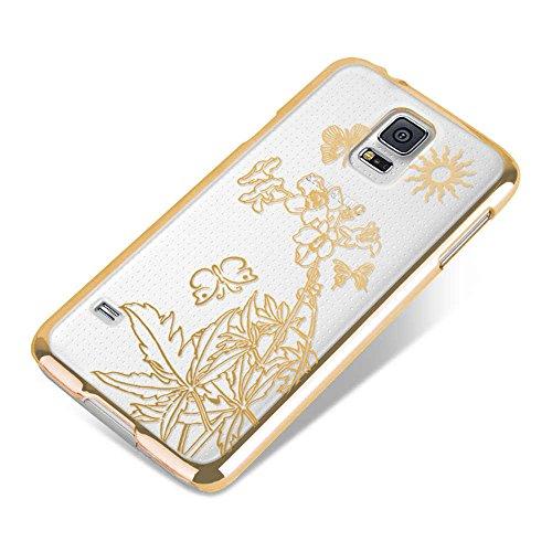 Apple iPhone 5 / 5s Handyhülle / Schutzhülle inkl. Displayschutzfolie im Design : die kleine Fee Gold BlumeBild(Sonne oben rechts) Gold