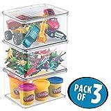 mDesign 3er-Set Spielzeugaufbewahrung – Aufbewahrungsbox mit Deckel zum Spielsachen verstauen im Regal oder unter dem Bett – durchsichtig