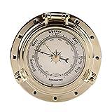Barómetro, Roma Retro Reloj barómetro Medidor de humedad de temperatura para navegación Marine RV Yacht Boat SUV(Barometer-Oro)