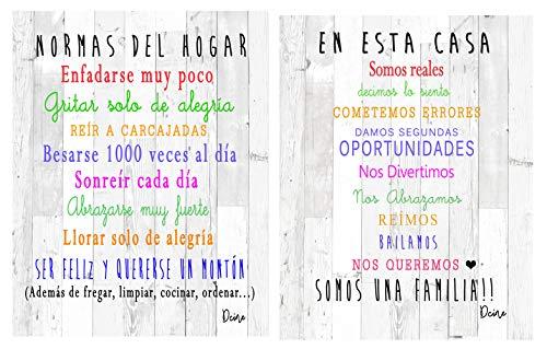 Dcine Set 2 Cuadros Decorativos Frases positivas/Normas