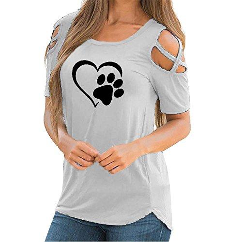 TEBAISE Neuer Art-Entwurfs-Frauen-Sommer, der Dating-Reizvolle Hohle Kurze Hülse Riemchen-Kalte Schulter-T-Shirt Oberseiten-Blusen wandert(X1Grau1,EU-46/CN- 2XL) (Crinkle Tunika Seide)