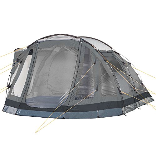 CAMPFEUER Tunnelzelt, grau, 5 Personen, 3000 mm Wassersäule, Campingzelt, Familienzelt