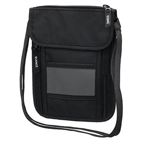 ECENCE Cartera portadocumentos para colgar del cuello con bloqueador RFID para mujeres hombres niños jóvenes niñas para viajar pequeña fina impermeable Negro 11030407