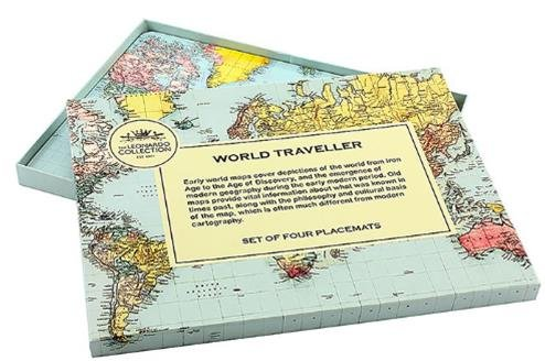 Map Table World Mat (Set of 4 Matching Placemats in a Gift Box - World Traveller Map Design by The Leonardo Collection)