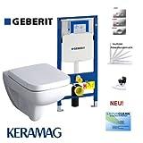 Geberit Duofix Vorwandelement, KERAMAG Renova Nr. 1 Plan Design Tiefspühl WC Komplettset + Deckel mit Absenkautomatik, Beschichtung, Schallschutz, Drückerplatte