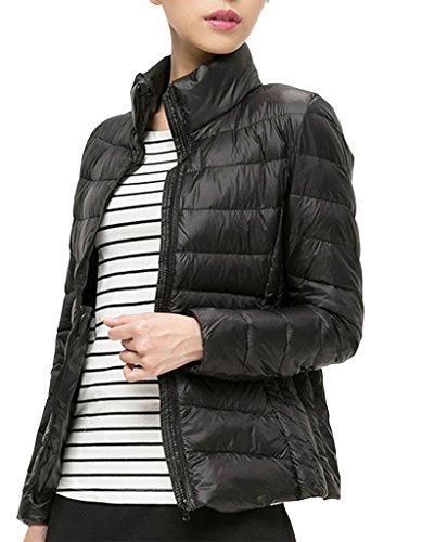 OOFIT Damen Herbst Winter Jacke Leichte Jacke Ladies Light Bomber Jacket MantelDaunenjacke in mehrer Farbe Gr.34-46 Schwarz