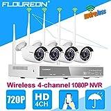 FLOUREON Wifi 1080P Überwachungkamera Set 4CH NVR Videorecorder P2P H.264 + 4X 720P WLAN Überwachungskamera Wasserdicht Sicherheitskamera Nachsicht Außen