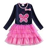VIKITA Mädchen Kleid Baumwolle Stickerei Schmetterling Tulle Prinzessin Tutu LH4555navy 3T