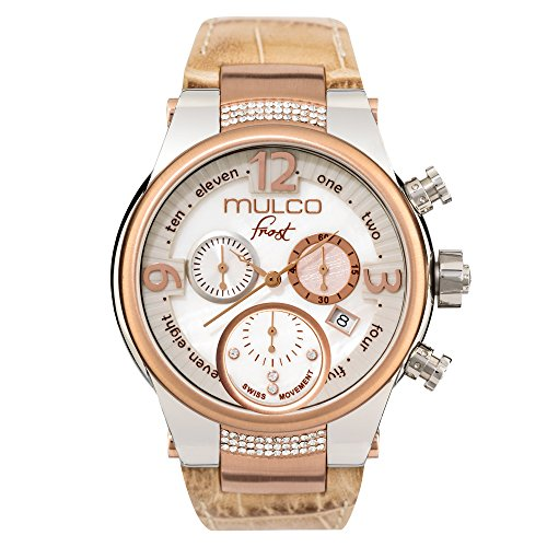 Mulco Frost MW5-2601-113 Beige Leather Band Women Watch with Swarovski Crystals