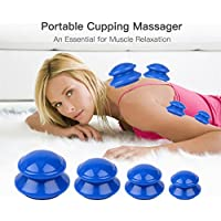 Silikon Schröpfen,4 Set Anti Cellulite Massage Cup Kit, Vakuum Massagegerät Familien Tragbare Körpermassage