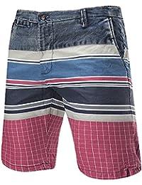 YCHENG Hombre Moda Pantalones Cortos Colorido Rayas Cuadros Contrast Vaqueros Playa Shorts