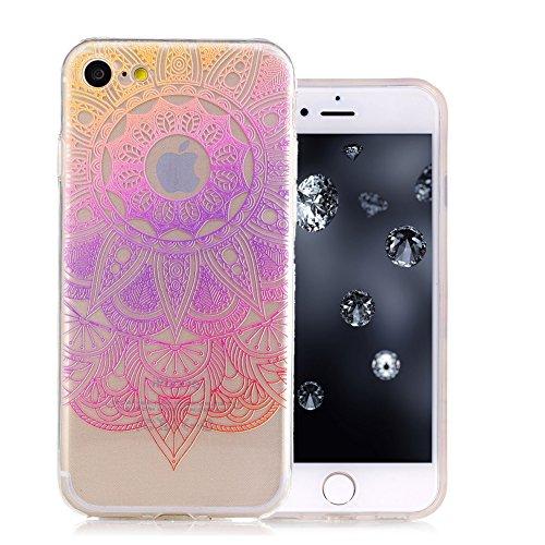 iPhone 7 Coque, Aeeque Fleurs de Dentelle Blanc Dessin Transparent Crystal Silicone Doux TPU Protection Contre les Chutes Case Cover Housse Etui pour iPhone 7 4.7 pouce Motif #35