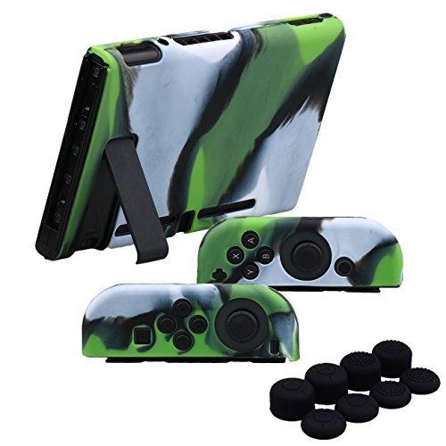 YoRHa Handgriff Silikon Hülle Abdeckungs Haut Kasten für Nintendo Switch/NS/NX Joy-Con controller und Tablette x 3 (Grün tarnen) Mit Joy-Con aufsätze thumb grips x - Silikon-tabletten-kasten