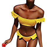 Hunputa Women's 2 Piece Swimsuit Cute Ruffle Off Shoulder Pleated Swimwear Thong Bikini Set Yellow