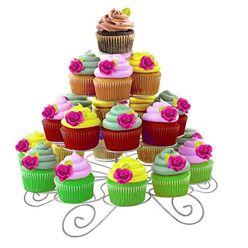 Kurtzy Stabiler Runder Metall Cupcake Muffin Ständer mit 4 Etagen Hält 23 Törtchen - Einfach zu montierender Ausstellungs-Stand für Hochzeiten, Baby Showers und Partys - Baby Shower Pops Cake