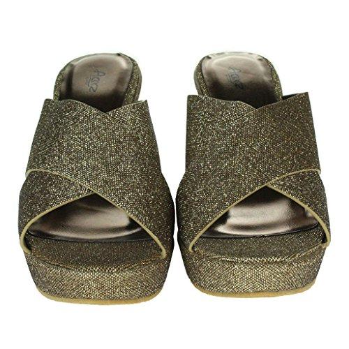 Frau Damen Kreuzgurt Keilabsatz Abend Party Lässig Täglich Komfort Sandalen Schuhe Größe Braun