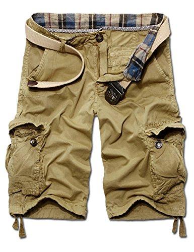 Menscwhear Pocket Hobo Release Pantaloni da Jogging da Uomo sportivi Casual Sarouel danza Shorts in esecuzione with belts (46/48,cachi)