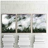 sochiyakart Nebelwald Landschaft Leinwand Wandkunst Poster Cloud Print Malerei Naturbilder für Wohnzimmer Dekoration 50x70 cm x 3 Kein Rahmen