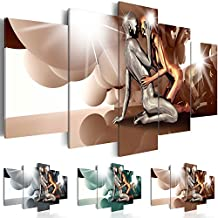 Cuadro en Lienzo 200x100 cm ! Tres colores a elegir - 5 Partes - Formato Grande - Impresion en calidad fotografica - Cuadro en lienzo tejido-no tejido - Persona Coppia Amor h-A-0046-b-p 200x100 cm B&D XXL