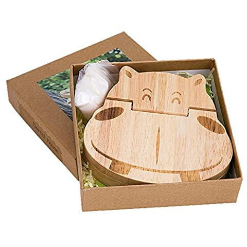 TAMUME Hippopotame Boîte à Dents de Lait en Bois avec 22 Trous Rubberwood Dents Boite Souvenir Cadeau Bébé avec la Première Dent et Friser les Cheveux, Idéale pour un Cadeau de Baptême - Hippopotame