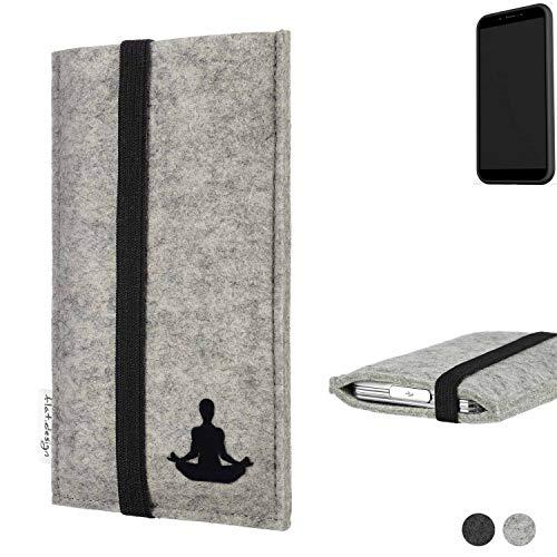 flat.design Handy Hülle Coimbra für Shift Shift6mq - Yoga Asana Lotussitz Tasche Case Filz Made in Germany hellgrau schwarz