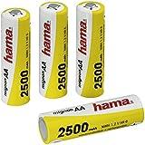 Hama - Rechargeable NiMH Batteries, Níquel e Hhidruro Metálico, 2500 mAh, 1.2 V, AA Mignon, 4 piezas, 30 g