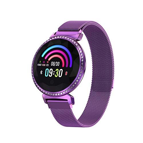 Knowin Smart Watch Big Disc Diamantbesetzte Damenmode Armband Tracker Smart Uhrenarmband mit Lederarmband Aktivitätstracker Schrittzähler Uhr Smartwatch Damen Herren Anruf SMS Beachten für Damen -